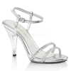 CARESS-416 Silver Faux Leather/Clear